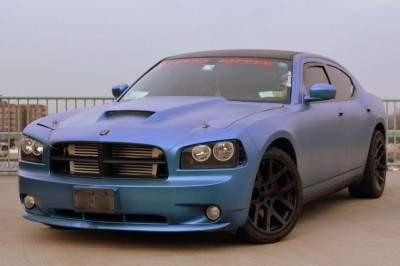 Kameleon Dodge Charger with matte finish Blue to Purple Kameleon paint pigment on it.